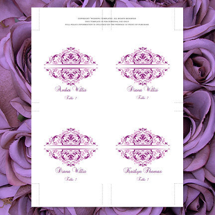 Wedding Seating Card Grace Purple Plum Lavender Tent