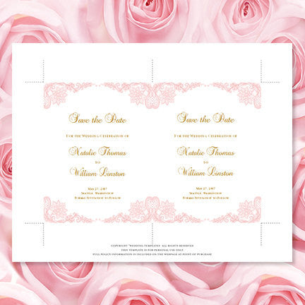 Wedding Save the Date Cards Vintage Lace Blush Pink