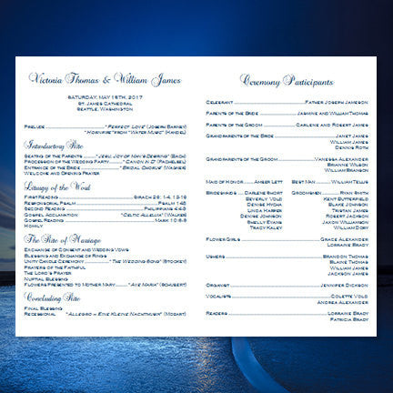 Catholic Church Wedding Program Vintage Lace Navy Blue