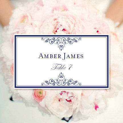 Wedding Seating Card Vintage Navy Blue Tent