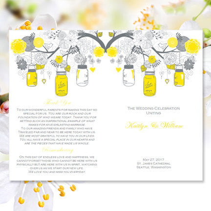 Catholic Church Wedding Program Rustic Mason Jars Lemon Yellow Gray