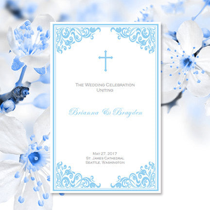 Catholic Church Wedding Program Faith Blue