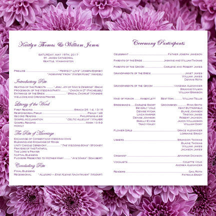 Catholic Church Wedding Program Rustic Mason Jars Purple Lavender