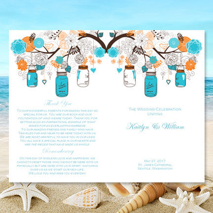 Catholic Church Wedding Program Rustic Mason Jars Orange Turquoise Blue