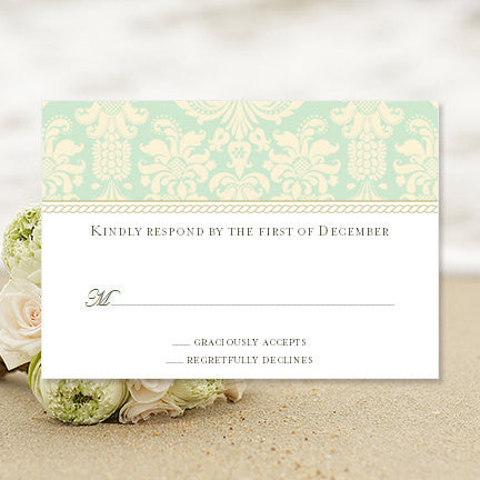 Wedding Response Cards Damask Mint Green Champagne
