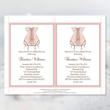 Lingerie Bridal Shower Invitation Pink