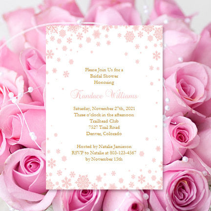 snowflake bridal shower invitation blush pink