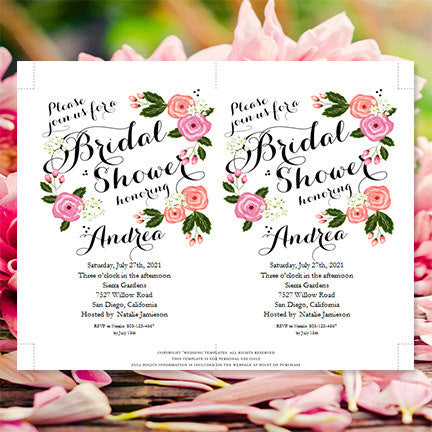Garden bridal shower invitation pink flowers wedding template shop garden bridal shower invitation pink flowers filmwisefo