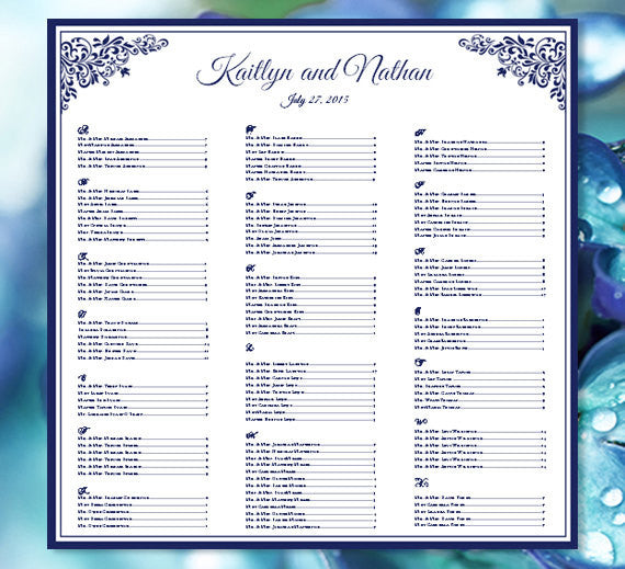 Wedding Seating Plan Anna Maria Navy Blue