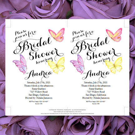 butterfly bridal shower invitation pink purple yellow