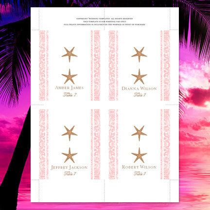 Wedding Seating Card Beach Starfish Blush Pink Tent