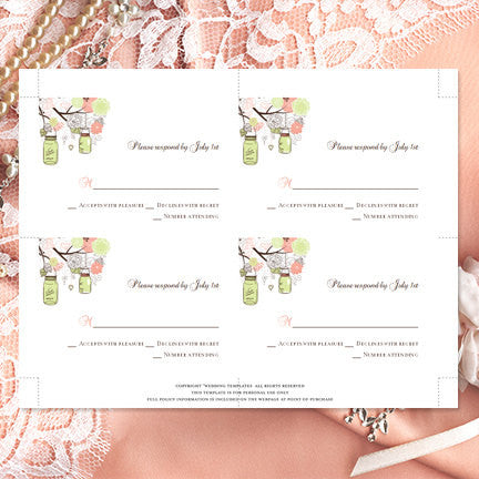 Wedding Response Cards Rustic Mason Jars Peach Mint Green
