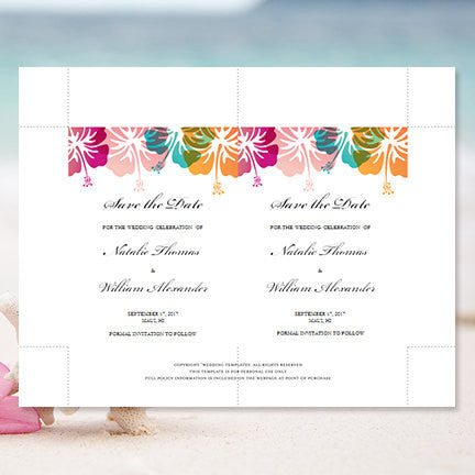 Wedding Save the Date Cards Tropical Hibiscus Pink Green Coral Orange