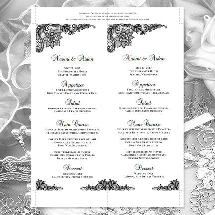 Wedding Menu Card Vintage Lace Black Tea Length