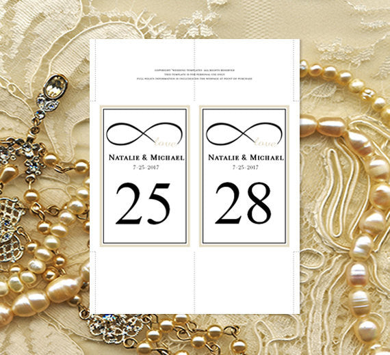 Wedding Table Number Template Infinity Love Champagne Black Flat