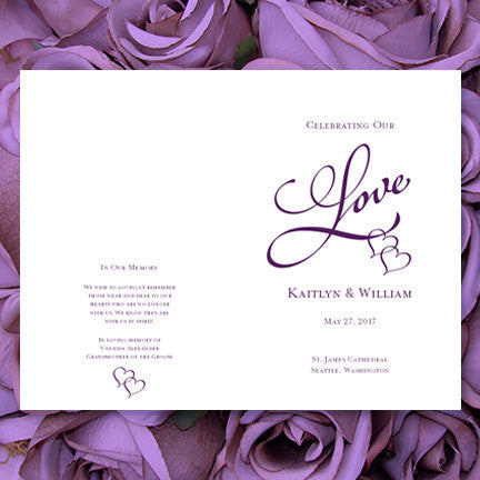 Wedding Program Template Two Hearts One Love Purple 89