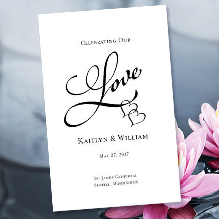 Wedding Program Template Two Hearts One Love Black