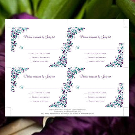 Wedding Response Cards Kaitlyn Peacock Purple Teal