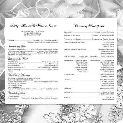 Catholic Church Wedding Program Kaitlyn Silver