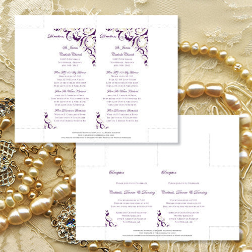 Pocket Fold Wedding Invitations Brooklyn Purple 89 Champagne 5x7