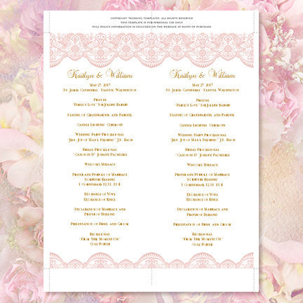 Slim Wedding Program Vintage Lace Blush Pink Gold