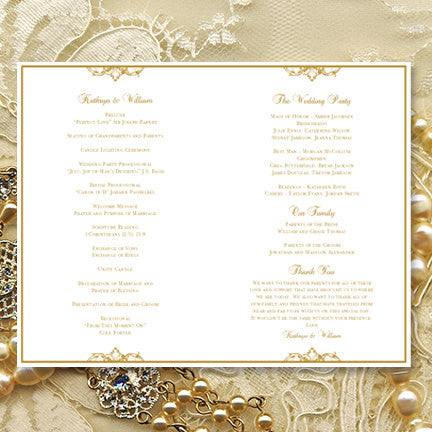 Wedding Program Template Vienna Gold