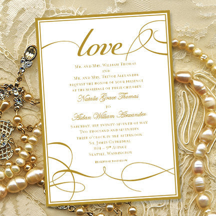 It's Love Wedding Invitation Gold