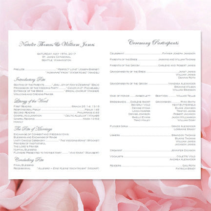 Catholic Church Wedding Program Vienna Blush Pink