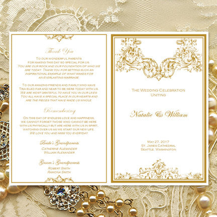 Catholic Church Wedding Program Vienna Gold 2