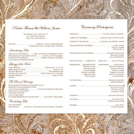 Catholic Church Wedding Program Vienna Chocolate Brown