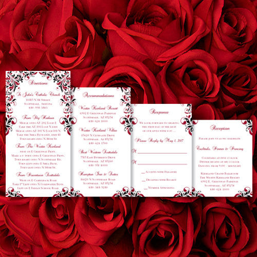 Pocket Fold Wedding Invitations Kaitlyn Apple Red Black 5x7