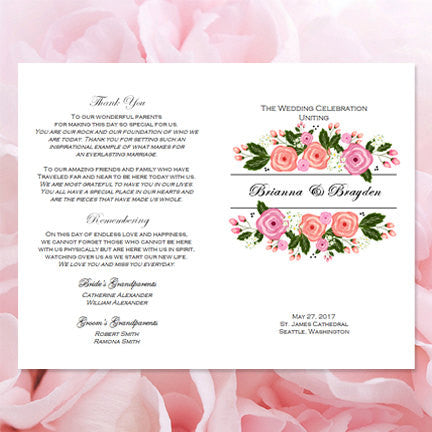 Catholic Church Wedding Program Floral Bliss Blush Pink and Peach