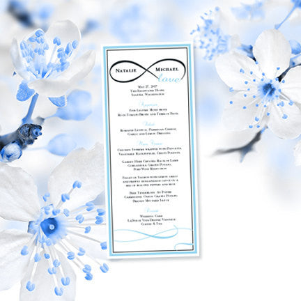 Wedding Menu Card Infinity Love Sky Blue Charcoal Gray Tea Length
