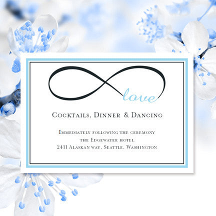 Wedding Reception Invitations Infinity Love Sky Blue Charcoal Gray
