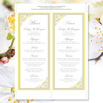 Wedding Menu Card Brooklyn Yellow Gray Tea Length