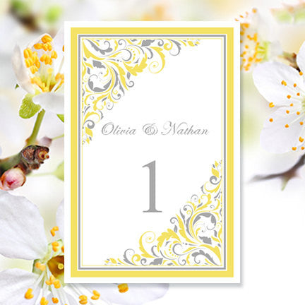 Wedding Table Number Template Brooklyn Yellow Gray Flat
