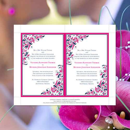 Pocket Fold Wedding Invitations Kaitlyn Hot Pink Navy Blue 5x7