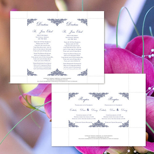Pocket Fold Wedding Invitations Anna Maria Navy Blue 5x7