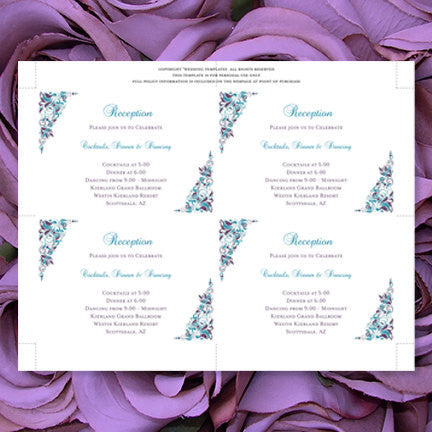 Wedding Reception Invitations Gianna Peacock Purple Teal