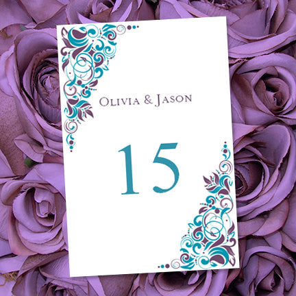 Wedding Table Number Template Gianna Purple Teal Flat