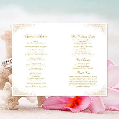 Wedding Program Template Confetti Starfish Blush Pink Gold