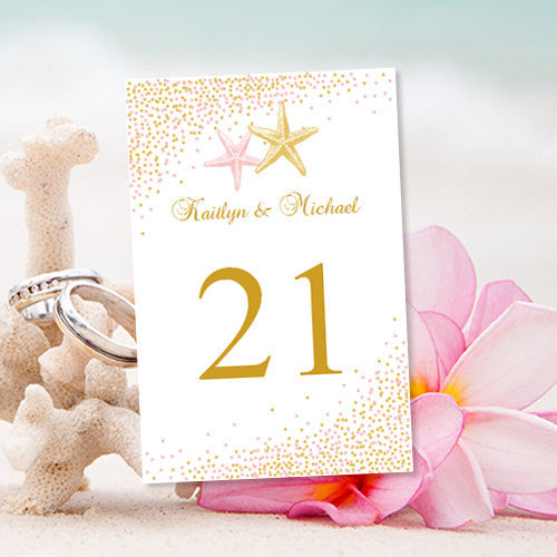 Wedding Table Number Template Confetti Starfish Blush Pink Gold Flat