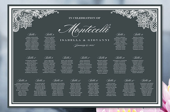 Wedding Seating Chart Poster Vintage Lace Charcoal Dark Gray White Print Ready Digital File