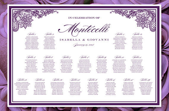 Wedding Seating Chart Poster Vintage Lace Purple Print Ready Digital File