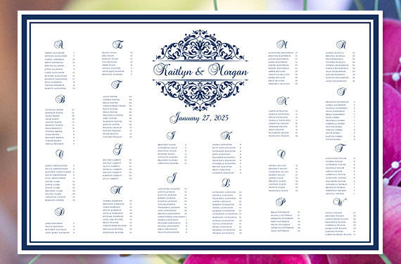 Wedding Seating Chart Poster Grace Navy Blue Print Ready Digital File