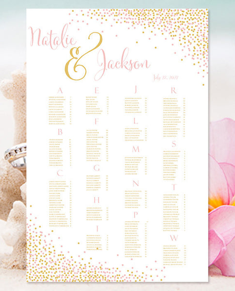 Wedding Seating Chart Poster Confetti Blush Pink Gold Print Ready Digital File