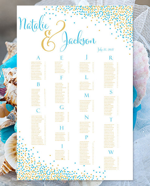 Wedding Seating Chart Poster Confetti Malibu Blue Gold