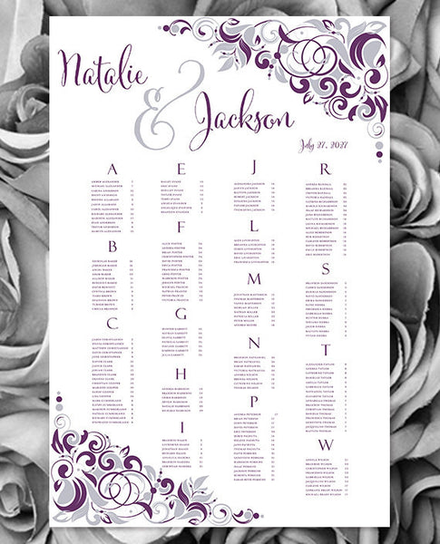 Wedding Seating Chart Poster Gianna Eggplant Purple Silver Print Ready Digital File