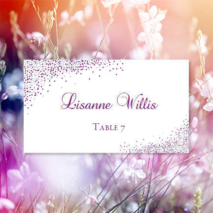 Wedding Seating Card Confetti Plum Purple Silver Tent