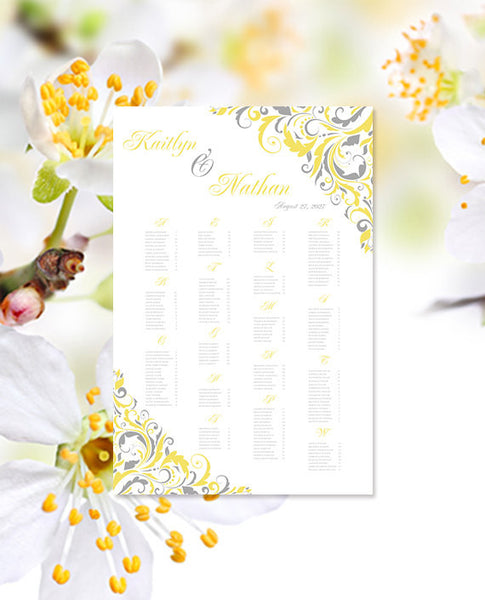 Wedding Seating Chart Poster Brooklyn Lemon Yellow Gray Printable Digital File